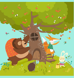 cute animals harvesting cherries vector image vector image