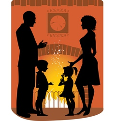 Family by the fireplace vector image vector image