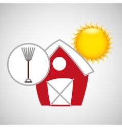 farm countryside rake tool design vector image vector image