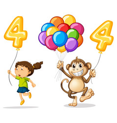 girl and monkey with balloon number four vector image