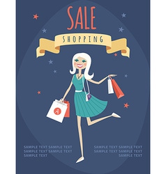 Girl or woman on shopping sale hold bags retro vector