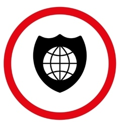 Global shield flat rounded icon vector