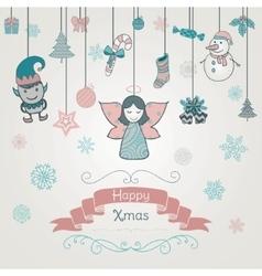 Hand drawn artistic christmas doodle invitation vector