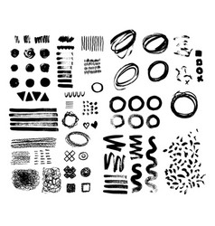 hand-drawn brush raw textured shapes black ink vector image