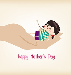 Happy motherss day hand holding a baby vector