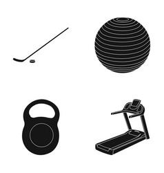 Hockey stick with puck ball weight treadmill vector