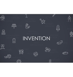 Invention thin line icons vector