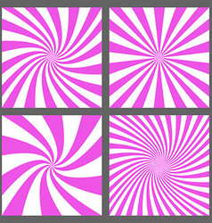 Magenta spiral and ray burst background set vector