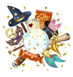 Magic concept with crystal ball vector