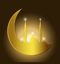 Ramadan kareem background with mosque silhouette vector