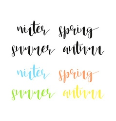 Seasons in calligraphy winter and summer spring vector