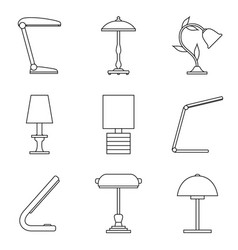 set of table lamp icon vector image