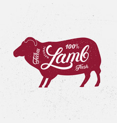 sheep ram silhouette and hand written lettering vector image vector image