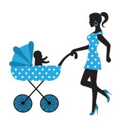 silhouette of a woman with a stroller vector image vector image