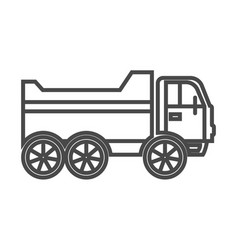 Tipper truck linear icon vector
