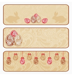 Vintage Easter horizontal banner set vector image