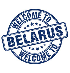 Welcome to belarus blue round vintage stamp vector