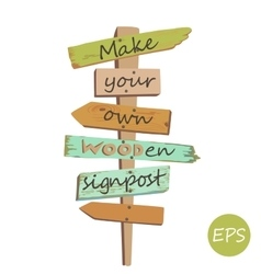 Wooden signpost vector
