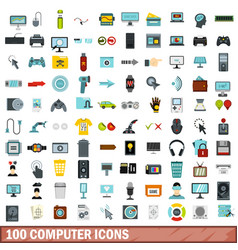 100 computer icons set flat style vector