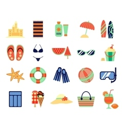 Beach summer vacation flat icons vector image