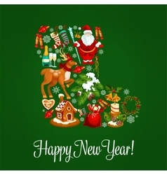 Christmas sock greeting poster for new year design vector