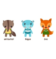 Cartoon characters or set of animals vector