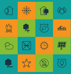 Set of 16 eco-friendly icons includes sun clock vector