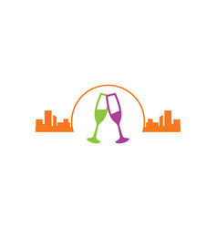 Urban glass wine city night logo vector