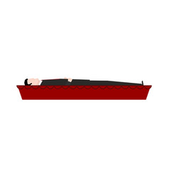 Dead man in coffin isolated departed in red vector