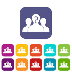 Group of people with unknown personality icons set vector
