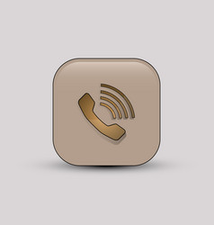 Phone call beige icon vector