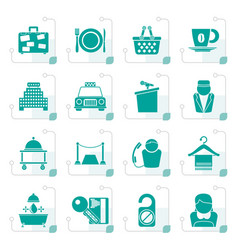 stylized hotel and motel services icons vector image