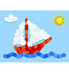 Sailboat in color circles vector