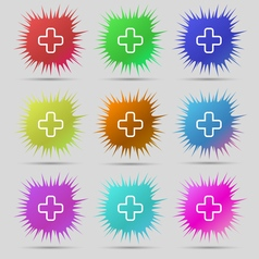 Plus icon sign a set of nine original needle vector