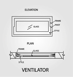 Diagram of a ventilator showing plan and elevation vector