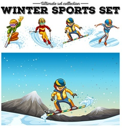 People playing winter sports vector