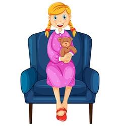 Little woman hugging teddy bear vector image
