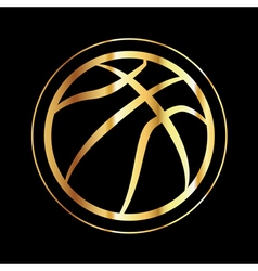 Golden Basketball Icon vector image