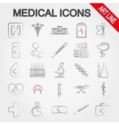 Medical icons art line vector
