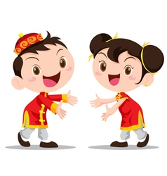Cute chinese kids invite vector