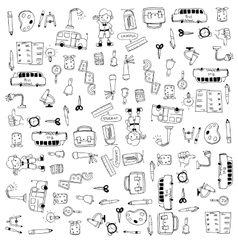Flat hand draw education tools doodle vector