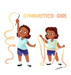 African american girl doing gymnastics vector