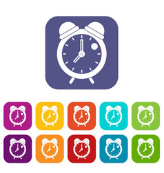 Alarm clock retro classic design icons set flat vector