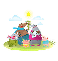 Bear family father mother kids and infant in vector