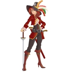 beautiful girl pirate vector image vector image