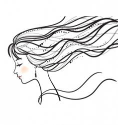 beautiful woman face silhouette illustratio vector image vector image
