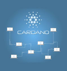 Cardano blockchain connection background style vector
