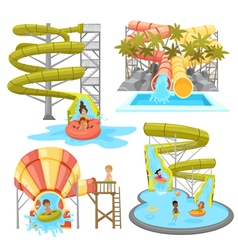 Colorful aquapark set vector