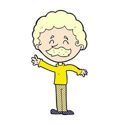 comic cartoon man with mustache waving vector image vector image