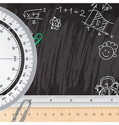 Creative chalkboard school background with rulers vector